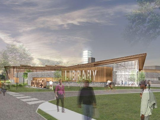 A rendering shows the planned, $21 million library along Del. 9 near Wilmington. A group of building contractors are suing New Castle County claiming bidding rules unfairly prevent them from competing to build the library.