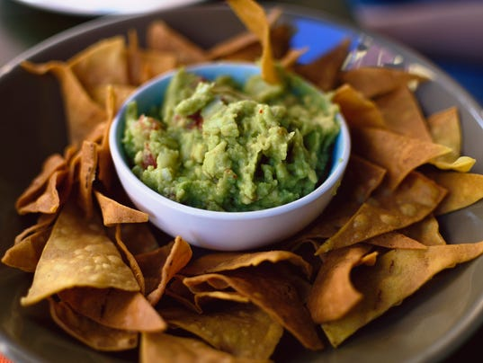 Guacamole with totopos, Mexican food.