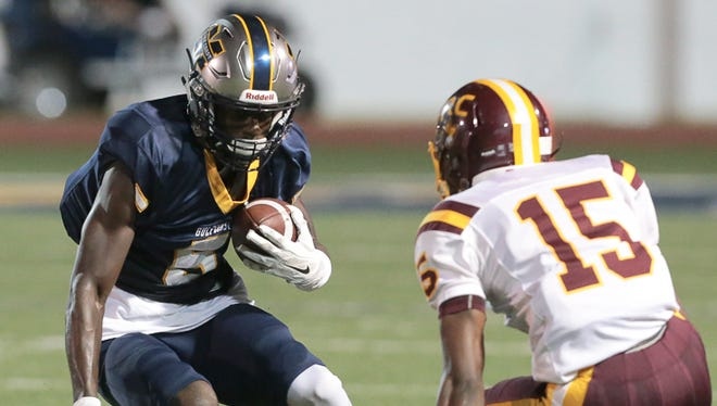 Pearl River cornerback Tyler Jack zeroes in on Gulf Coast wide receiver Jevon Floyd in junior college football action Thursday at Perkinston.