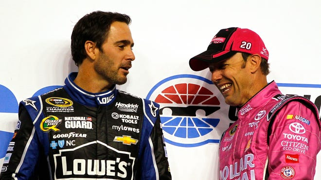 Jimmie Johnson, left, trails Matt Kenseth by four points heading into Sunday's race at Talladega Superspeedway.