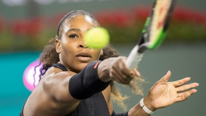 Serena Williams, of the United States of America plays against Zarina Kiyas of Kazakhstan during the first round of women's play at the BNP Paribas Open at indian Wells Tennis Gardens on March 8, 2018.