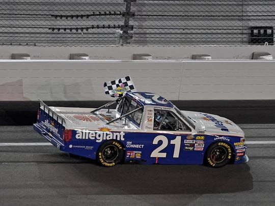Johnny Sauter opened the 2018 season with GMS Racing with his third victory at Daytona International Speedway.