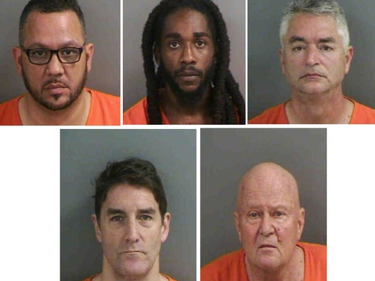 Six men, one not pictured, were charged with soliciting prostitution. Pictured clockwise starting from top left: Richard Cecil, 47, William Darmoh, 29, Howard Cornibe, 60, Peter Bradshaw, 70, Patrick Boll, 53. Not pictured is Jay B. Rosman.