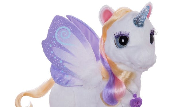 This sweet unicorn responds to a child's voice.