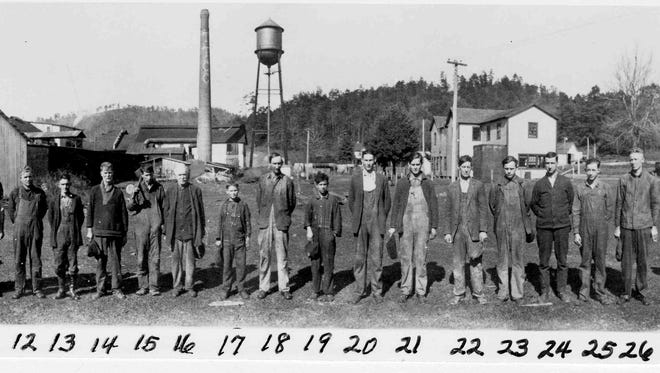 Toxaway Tanning Company employees, 1920s: 1. Calvin Galloway.  2. E.D. Randolph.  3. Will Jackson.  4. Unknown.  5. Archie Rogers.  6. Roy Watkins.  7. Garfield Duncan.  8. Robert Holden.  9. Unknown.  10. Wilborn Galloway.  11. Paul Rogers.  12. Elmer White.  13. Oscar Barrette.  14. Calop Murphy.  15. Will Mosley.  16. Daddy Harry Scott.  17. Unknown.  18. Lueller Powell.  19. Unknown.  20. Bill Jackson.  21. Burnice Owens.  22. Weldon Morgan.  23. Fred Stroupe.  24. Jorden Whitmire.  25. Anderson Revis.  26. C.L. Cantt.  27. Dee Morgan.  28. Carl Hednrix.  29. George Hendrix.  30. Coy Whitmire.  31. Lee Morgan.  32. Dar. Crowe.  33. Elmer McClain.