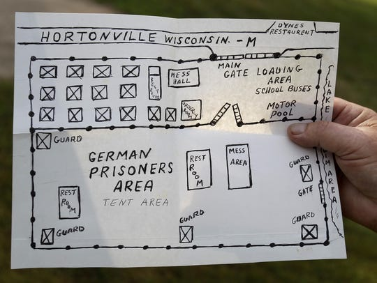 A drawing was made by Sgt. Glenn Garrison of the POW