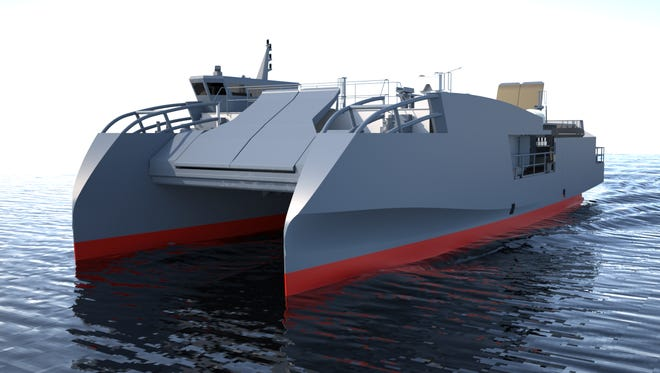 A Fincantieri rendering of the Maneuver Support Vessel (Light) design it submitted to the U.S. Army. A contract decision is expected this summer.