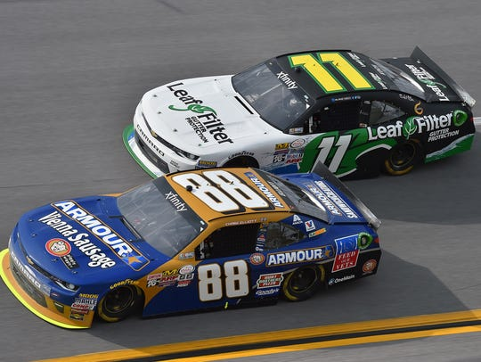 Chase Elliott (88) and Blake Koch (11) race during