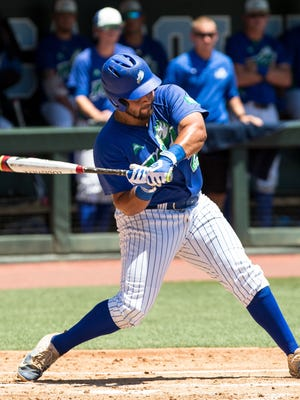 Florida Gulf Coast's Nick Rivera swings at a pitch during an NCAA tournament regional baseball game against Michigan in Chapel Hill, N.C. on Friday, Jun. 2, 2017.