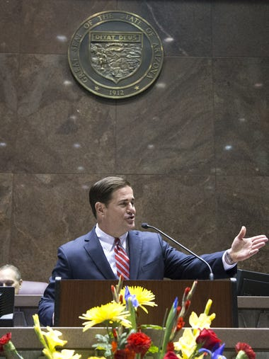 Governor Doug Ducey speaks during his State of the