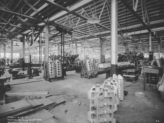 Cylinder boring department of Liberty motors at the