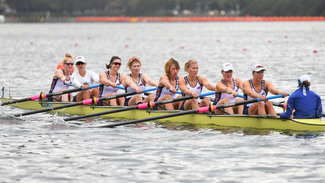 Team USA prepares to compete in the women's eight heats at Lagoa Stadium during the Rio 2016 Summer Olympic Games.
