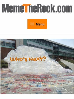 """Former University of Tennessee student Brooks Brown created MemeTheRock.com to create memes like this one, pictured on the site on Thursday, Nov. 30, 2017, on UT's """"The Rock."""""""