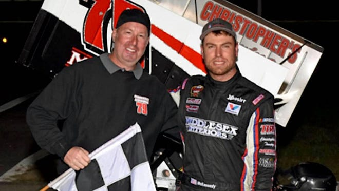 Driver Jon McKennedy, right, won the Bob Webber Sr. Memorial 125 supermodified race Sunday during Star Speedway's biggest race weekend of the year.