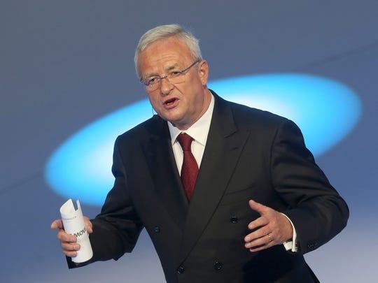 Volkswagen AGCEO Martin Winterkorn speaks during the