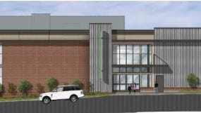 An east elevation showing the planned grocery store from Eighth Avenue South.