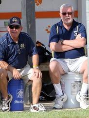 Notre Dame head coach Steve Weber, left, sits with