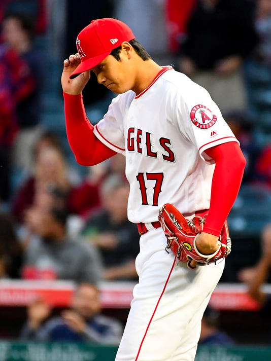 82fe59e9abe Angels  Shohei Ohtani removed from game against Red Sox with blister ...