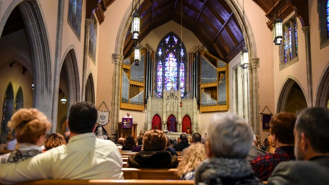 James Dibert gives the sermon as Holy Trinity Lutheran Church celebrated its 125th anniversary on Sunday, Feb. 14, 2016.