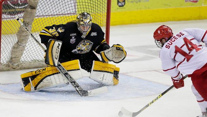 Green Bay Gamblers goalie Adam Huska (30) was named the USHL goaltender of the year for the 2015-16 season.