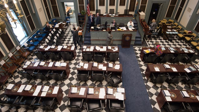 Interior of the house chambers at Legislative Hall in Dover.