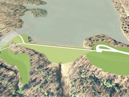 A new dam creating Meadow Grounds Lake will look very similar to the old dam. The dam is in the center, and the spillway is to the left in this artist's rendering.