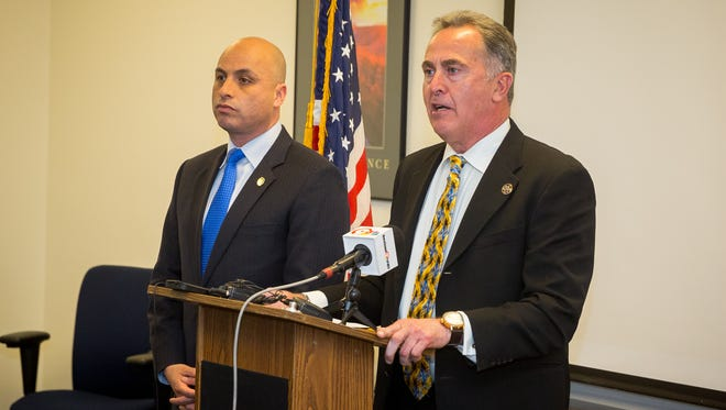 New Mexico Attorney General Hector Balderas, left, and Third Judicial District Attorney Mark D'Antonio brief media at the District Attorney's office on the impact on Southern New Mexico of the International Border Conference.