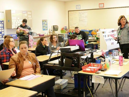Riverside Elementary School teacher Billie Tighe meets