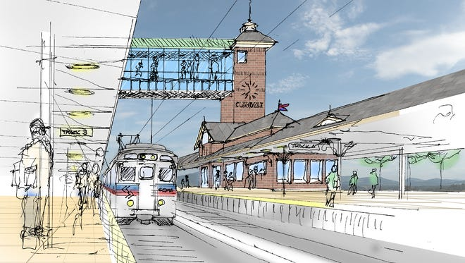 An artist's rendering shows the First State Transit Center, part of the First State Crossing project proposed for Claymont.