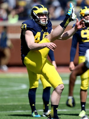 """Will Hagerup told his teammates at a Monday event that the U-M program """"saved my life."""" Hagerup battled addiction part of his time at U-M."""