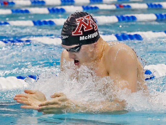 Conner McHugh competes for the University of Minnesota
