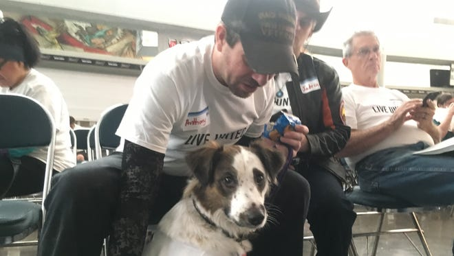 Former Army Specialist Anthony Makar pets his dog Kya, a PTSD response service dog. Kya goes to different events and comforts veterans suffering from anxiety-related disorders.