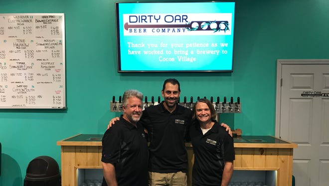 Paul Hill, Pat Buonomo and Chris Hughes are three of the four owners of the new Dirty Oar Beer Co. in Cocoa Village.