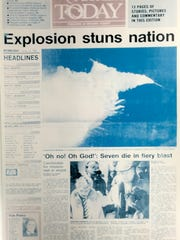 The front page from the  Jan. 29, 1986, edition of FLORIDA TODAY, published the day after the Space Shuttle Challenger tragedy.