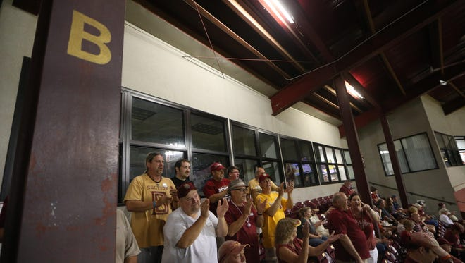 The Animals of Section B cheer for Florida State's baseball team during the Seminoles' game against Auburn.