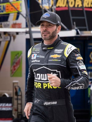 Jimmie Johnson during practice for the Pennzoil 400 presented by Jiffy Lube at Las Vegas Motor Speedway on March 3.