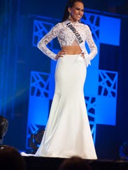Lindsey Conque, Miss Louisiana TEEN USA 2018, competes on stage in her evening gown during the MISS TEEN USA® Preliminary Competition at Riverdome at the Horseshoe Casino and Hotel on Wednesday, May 16.
