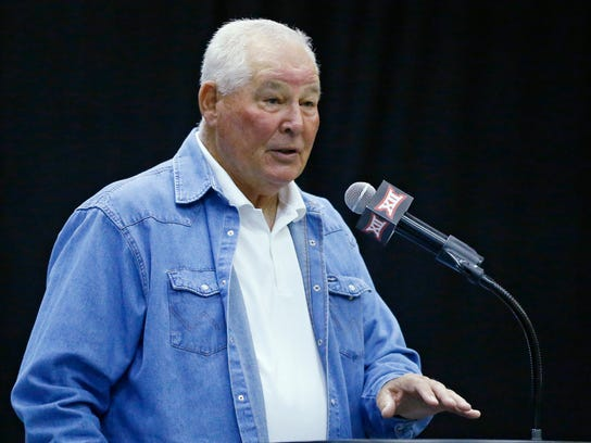 FILE - In this May 20, 2015, file photo, Augie Garrido, head baseball coach at Texas, speaks during a news conference in Tulsa, Okla. Garrido, the winningest NCAA baseball coach, begins his 20th season at Texas, which came after 21 seasons with Cal-State Fullerton and three at Illinois. (AP Photo/Sue Ogrocki, File)