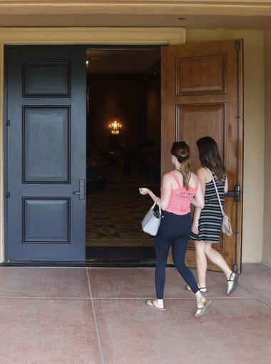 """Women arrive during ABC's """"The Bachelor"""" casting call at McCormick Ranch in Scottsdale, Ariz. on June 16, 2018."""
