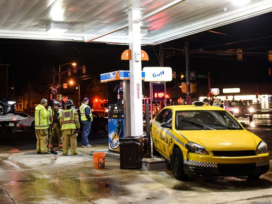 Lebanon crash: City fire crews and First Aid and Safety Patrol were dispatched at 8:03 p.m. Thursday, April 7, 2016, to 12th and Cumberland streets for a crash in which a taxi cab came to rest against a gas pump at the Gulf station. A police report was not available.