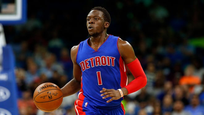 Reggie Jackson drives to the basket against the Magic in the Pistons' 115-87 loss Friday, March 24, 2017 in Orlando, Fla.
