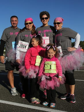 2014: John Smith, Kim Cook  Sarah Smith,6, Jennifer Smith, Payton smith, 3, and Jill Csaszi at 21st Annual Susan G Komen Race For the Cure at Six Flags Great Adventure on October 5, 2014.