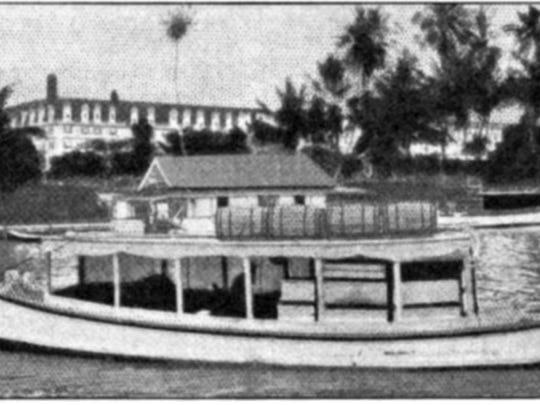 Oscar Poppleton's boat in Miami, transporting the bees in 1913.