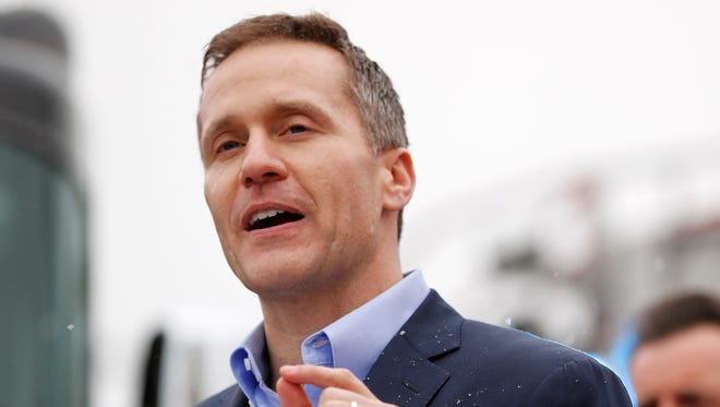FILE - In this Feb. 8, 2017, file photo, Missouri Republican Gov. Eric Greitens speaks during a visit to the St. Louis City Fire Academy in St. Louis.