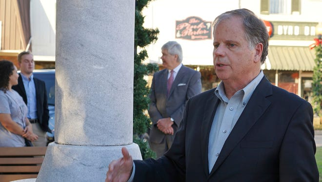 In this Nov. 17, 2017, file photo, Alabama Democratic Senate candidate Doug Jones speaks during a campaign stop in Troy, Ala.