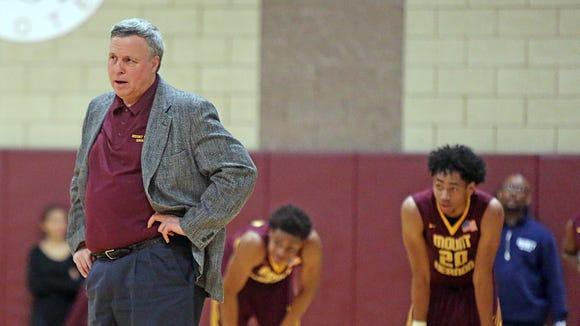 Mount Vernon basketball coach Bob Cimmino reacts to