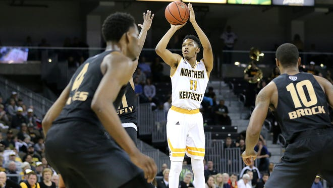 Northern Kentucky Norse guard Mason Faulkner (11) rises for a 3-point shot in the second half during the NCAA college basketball game between Oakland Golden Grizzlies and the Northern Kentucky Norse, Friday, Jan. 26, 2018, at BB&T Arena in Highland Heights, Kentucky. Oakland won 83-70.