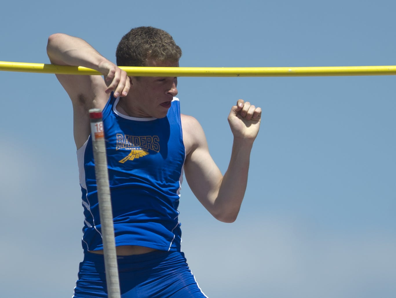 Sheboygan North's Dan Becker attempts 15-feet 3-inches in the pole vault at the WIAA State Track and Field Meet Division 1 competition at University of Wisconsin-La Crosse, Saturday, June 6.