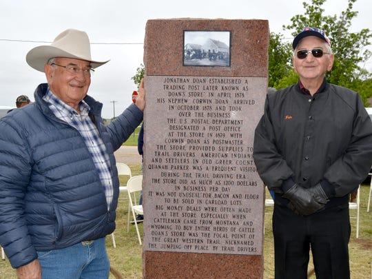 The backside of the monument honoring Capt. John T.