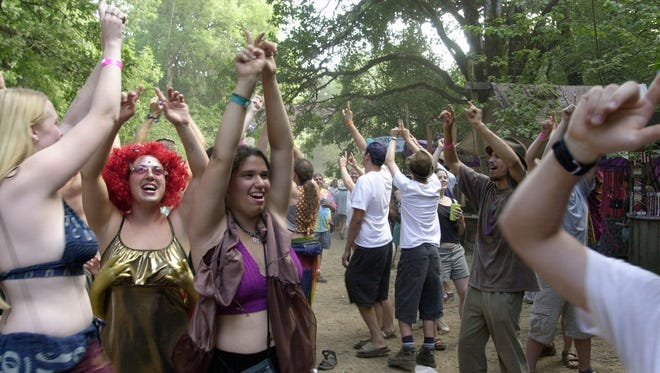 People dancing at the Oregon Country Fair.